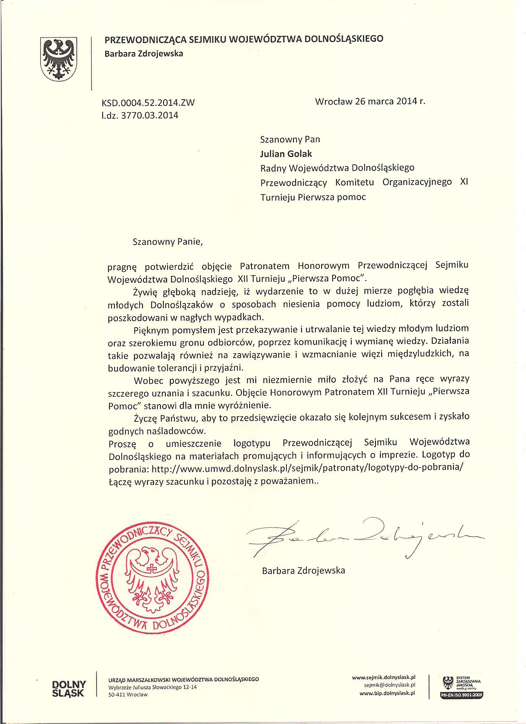 Patronat honorowy - Barbara Zdrojewska